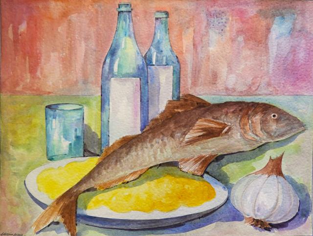 pozza_mario_-_acquarello_---640x_---_30x45_-_pesce_con_polenta_-_acquerello_-_30x45_-_DSCN2644
