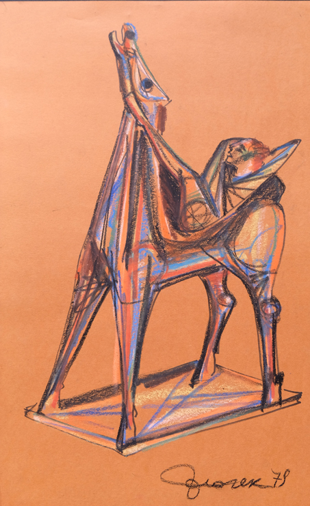 017_-_1979_-_Cavallo_e_acrobata_---_740X_----1979_Pastelli_a_cera_71x50cm