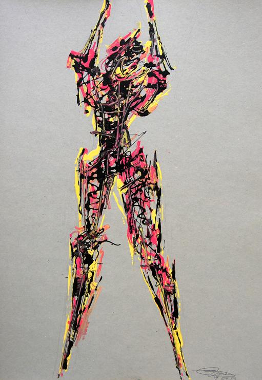 19_Studio_per_grande_scultura_2013_---_740X_--_Smalti_su_cartoncino_70x50cm